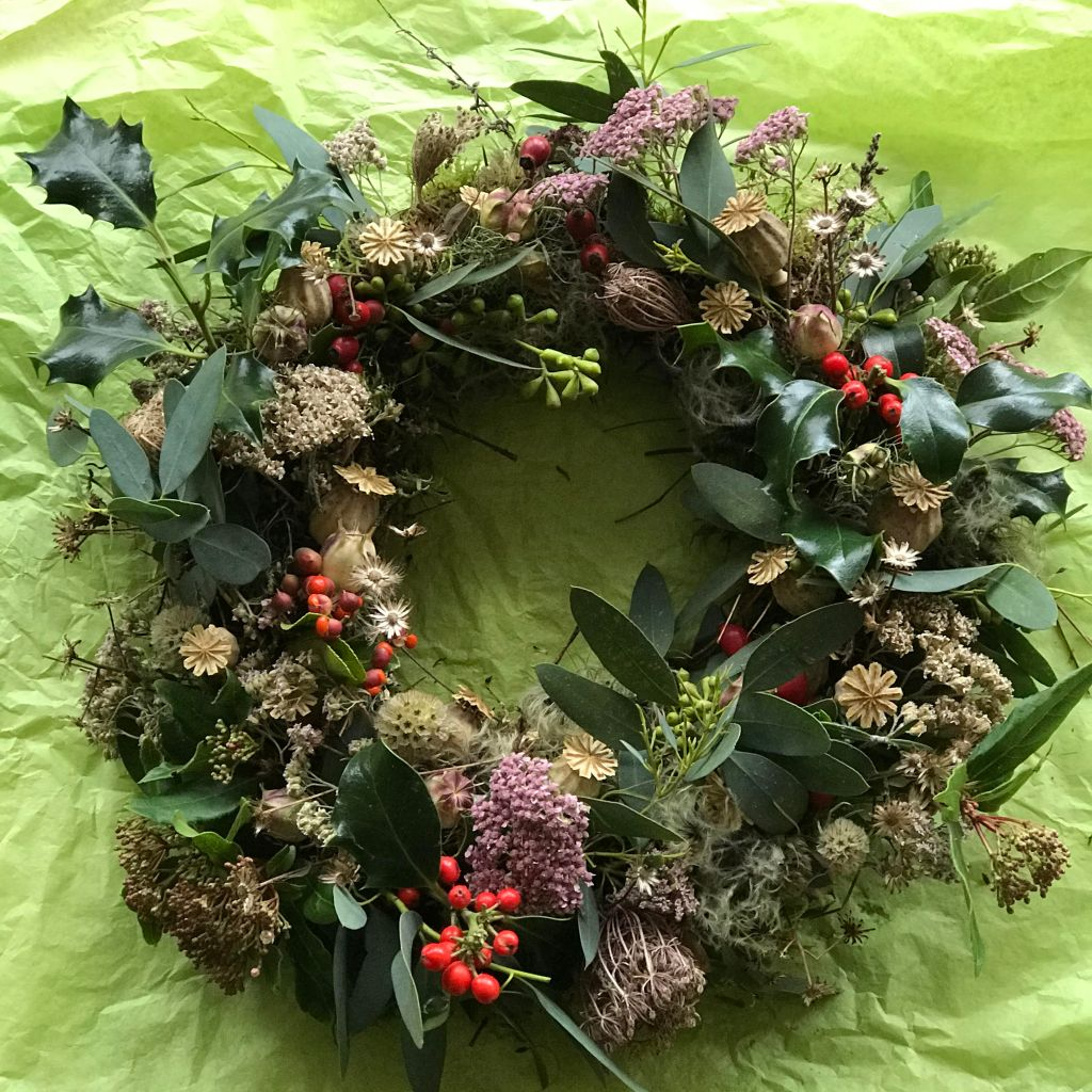Locally foraged fresh wreath medium: £15.00